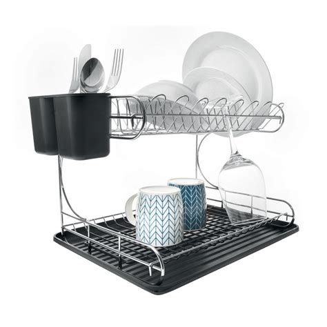 dish rack 2 tier chrome dish rack kmart