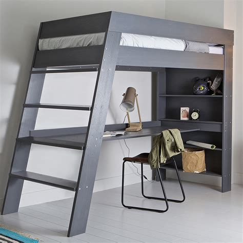 child loft bed julien kids loft bed desk in brushed grey pine woood cuckooland