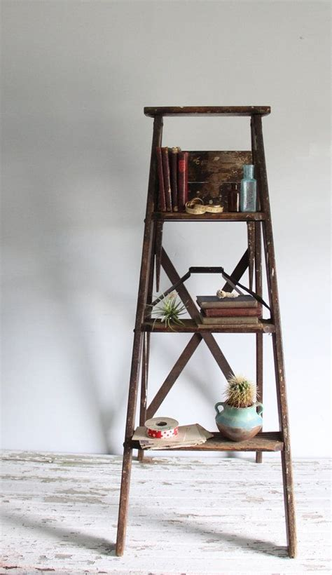 vintage wooden ladder rustic farmhouse decor bookshelf