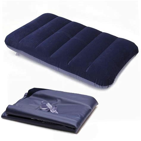 head in a comfortable bed dark blue car travel outdoor inflatable air bed pillow