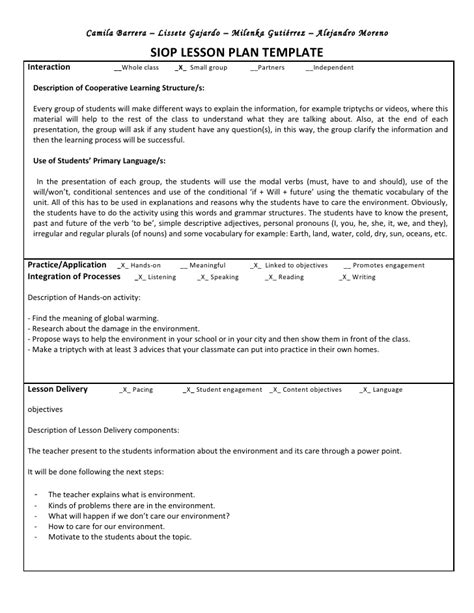 siop model lesson plan template siop unit lesson plan template sei model