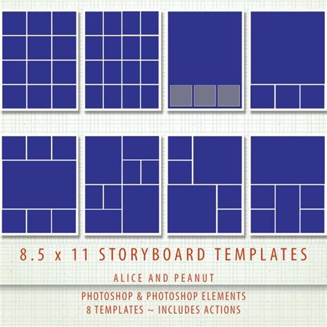 digital templates for photoshop 8 5x11 8 x psd storyboard photographer digital