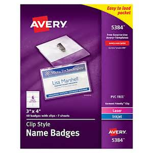 Office Depot Name Tags Avery Clip Style Name Badges Top Loading 3 X 4 Box Of 40