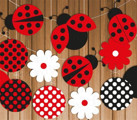 ladybug printable banner hanging decorations instant