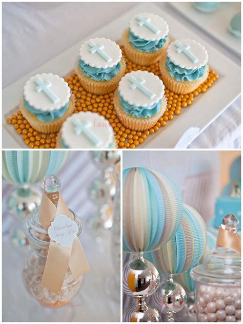 Giveaways For Christening Baby Boy - sweet candy bar for christening baby boy party idea