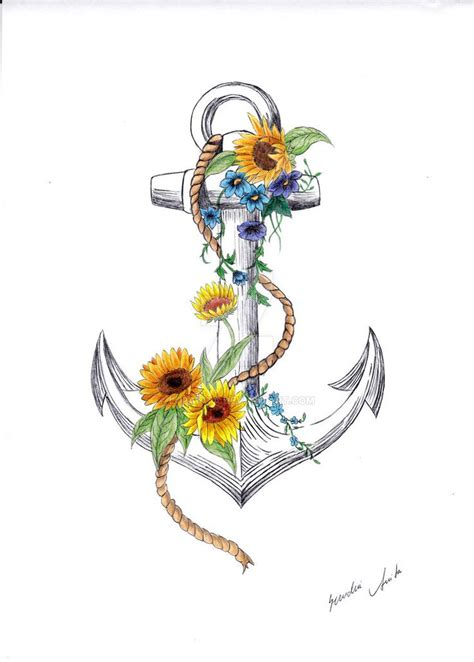 anchor tattoo with flowers anchor images designs