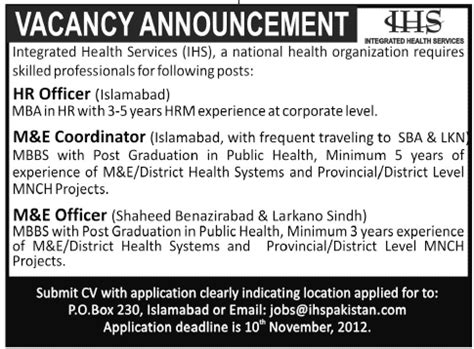 Mba In Health Management In Islamabad by Integrated Health Services Ihs Requires Hr And M E Staff