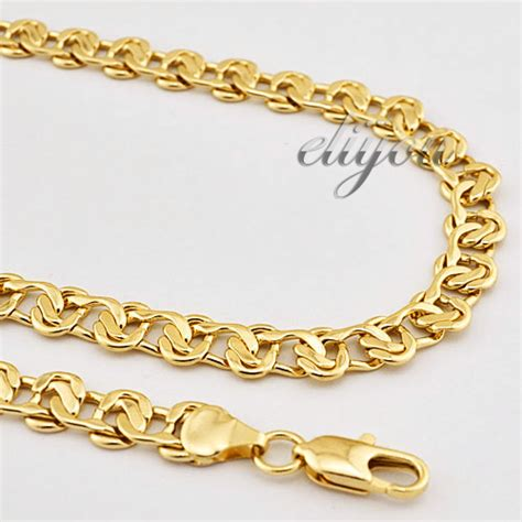 60cm Unisex Figaro Gold Chain 22k Yellow Gold Filled Gf 24mm gold chain styles for promotion shopping for