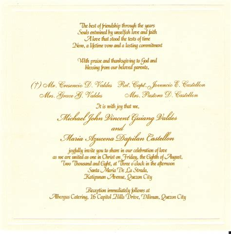 Wedding Invitation Text by Wedding Invitation Valdes Castellon Nuptials