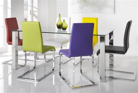 colorful dining chairs with glass and stainless steel