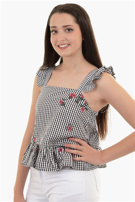 Wst 19092 Black Floral Embroidered Top sleeveless gingham check ruffle strappy floral