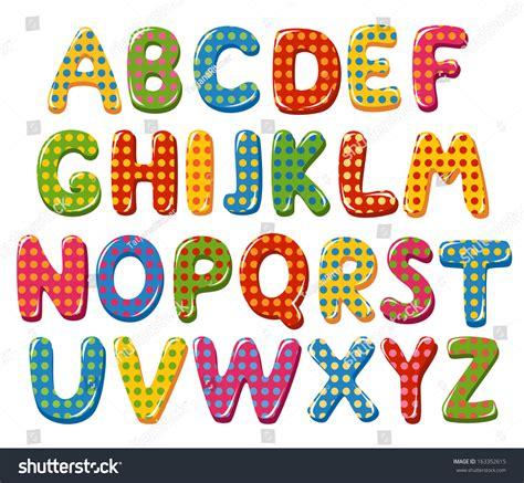 dot pattern alphabet colorful alphabet letters polka dot pattern stock vector