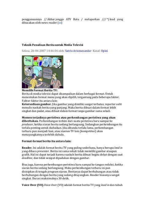 contoh format berita tv rumus 5 c untuk penulisan berita tv