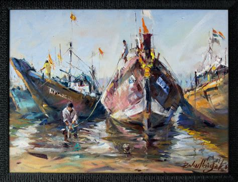 fishing boat online india fishing boats on seashore with frame painting by artist