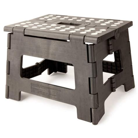 kikkerland easy fold black step stool 8 5 inches in step