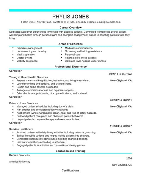 in home caregiver resume sles caregiver resume exle wellness sle resumes