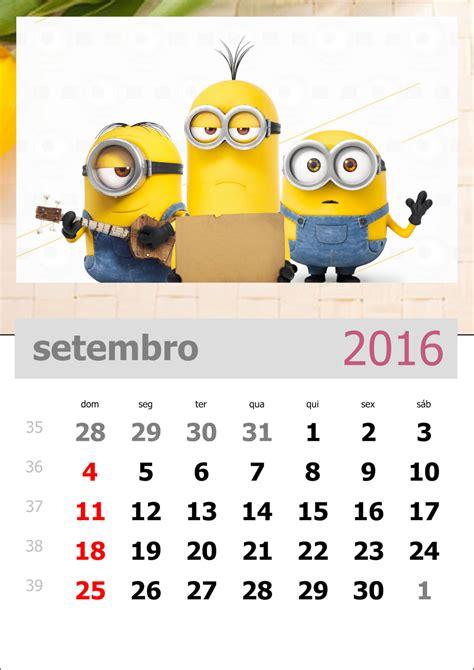 Calendario 6 Meses 2016 Calend 225 Dos Minions 2016 Para Imprimir