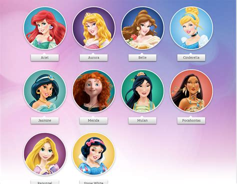 disney names name of all disney princesses