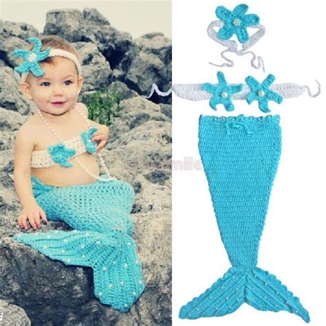name crocheting mermaid tail photo prop under the sea 3pcs newborn baby girl pearls mermaid tail costume outfit