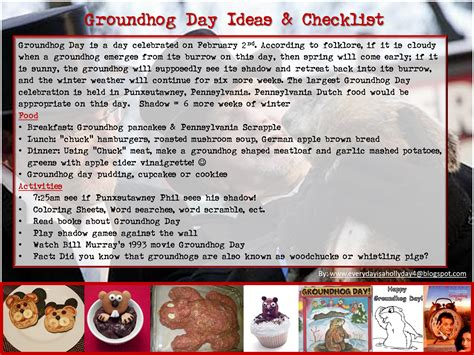 groundhog day supplies everyday is a quot hollyday quot groundhog day ideas checklist