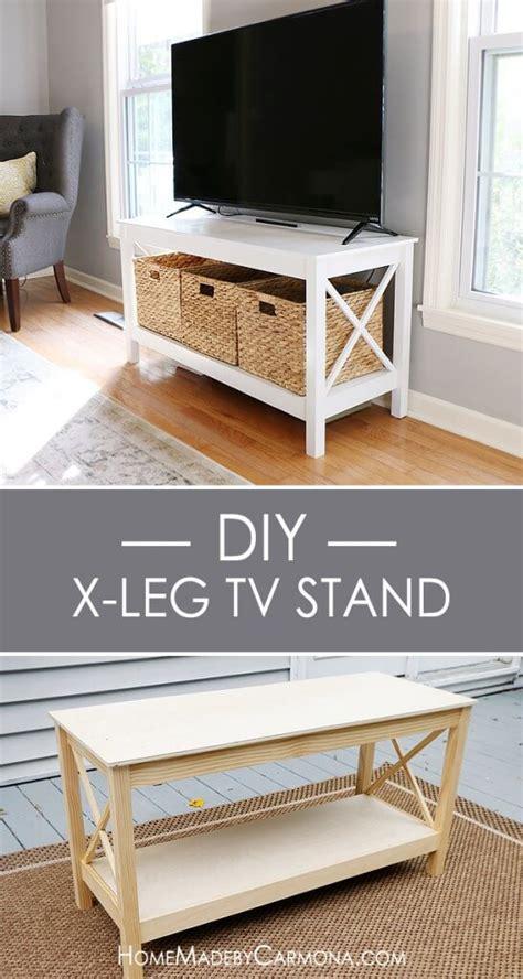 diy tv bench diy x leg tv stand home made by carmona