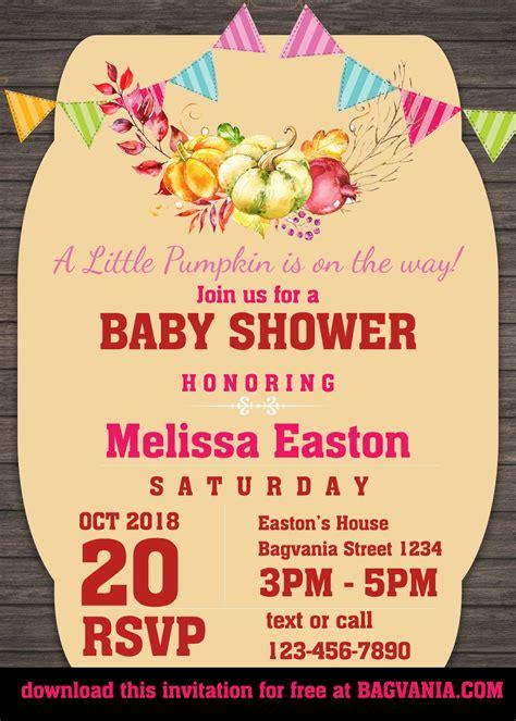 pumpkin baby shower invitation templates bagvania