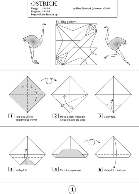 Origami Resource Centre - origami ostrich by hans birkeland