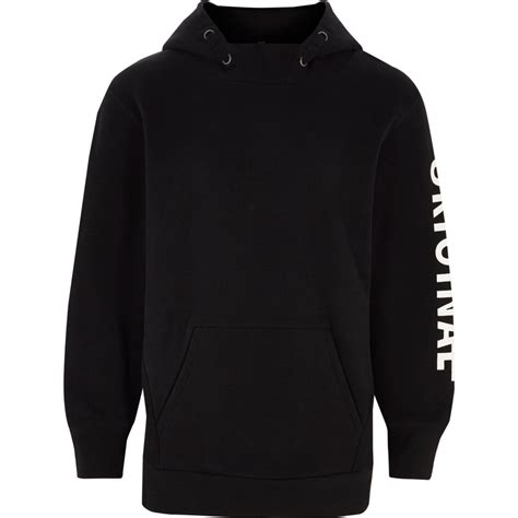 Hoodie Black boys black original sleeve print hoodie hoodies