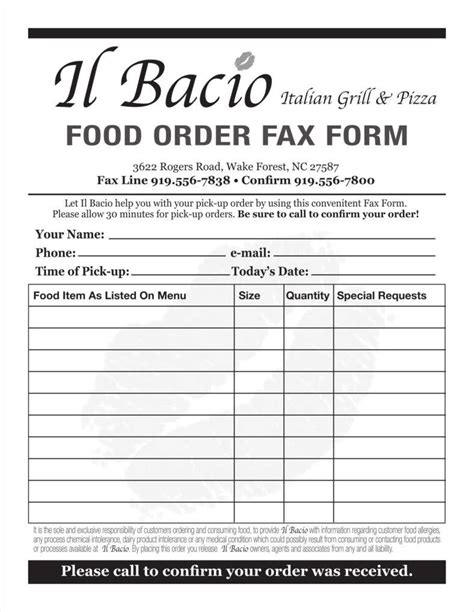 9 Food Order Form Templates Free Sles Exles Formats Download Free Premium Templates Restaurant Ordering Template