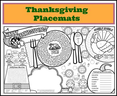 free thanksgiving coloring placemats happy thanksgiving