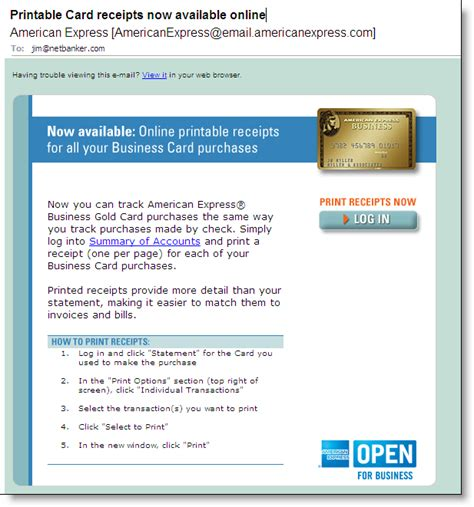 format email american express online card receipts from american express finovate