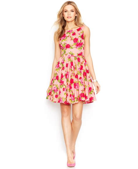 A Sea Of Roses Flare Dress lyst betsey johnson sleeveless print dress in pink