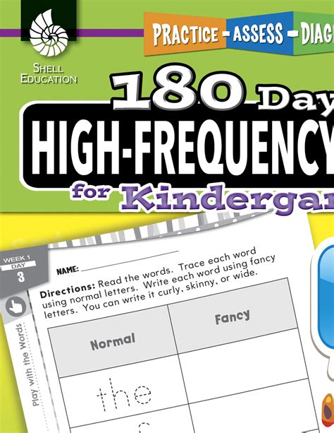 180 days of high frequency words for kindergarten 180 days of practice shell education reading words book school specialty