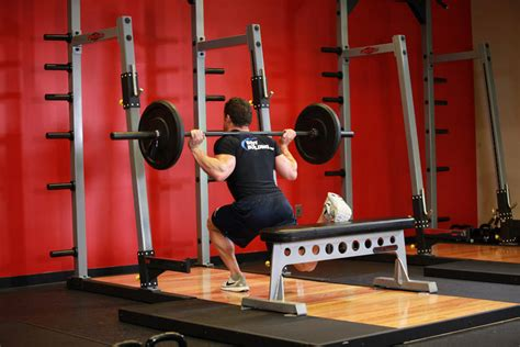 one leg bench squat one leg barbell squat exercise guide and video