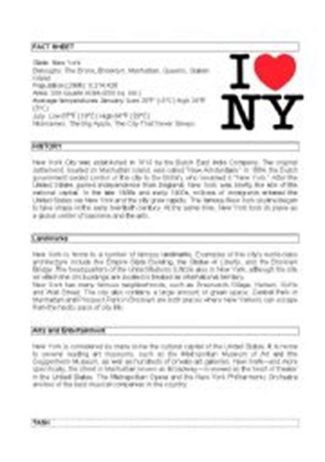 reading comprehension test new york english worksheet new york city fact file