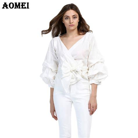 Miniso Womens Fashionable White aliexpress buy fashion white ruffles blouse v neck tops clothing
