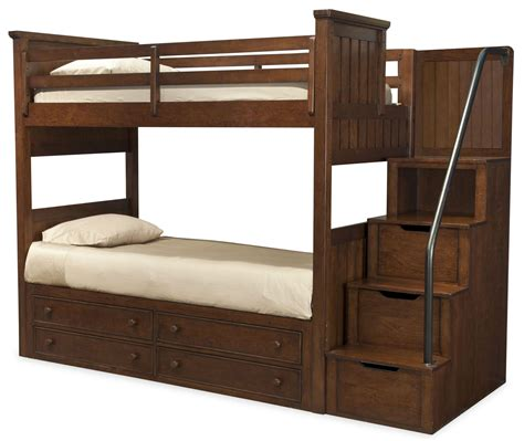 loft bed with steps dawsons ridge twin over twin bunk bed with storage steps