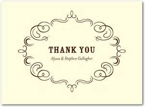 royal filigree thermography thank you cards in th brown or black hawkins designs