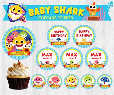 baby shark video download pinkfong baby shark editable birthday party cupcake topper