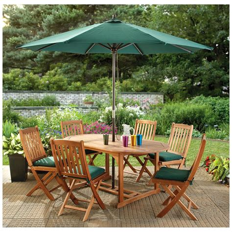 Patio Furniture With Umbrella Castlecreek 174 Eucalyptus Dining Set 232377 Patio Furniture At Sportsman S Guide