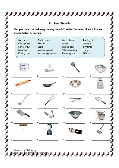 Cooking Measurements Worksheet Answers Kitchen Utensils Facs Kitchen Utensils