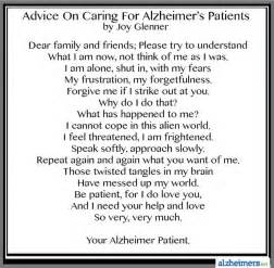 Poem advice on caring for alzheimer s patients