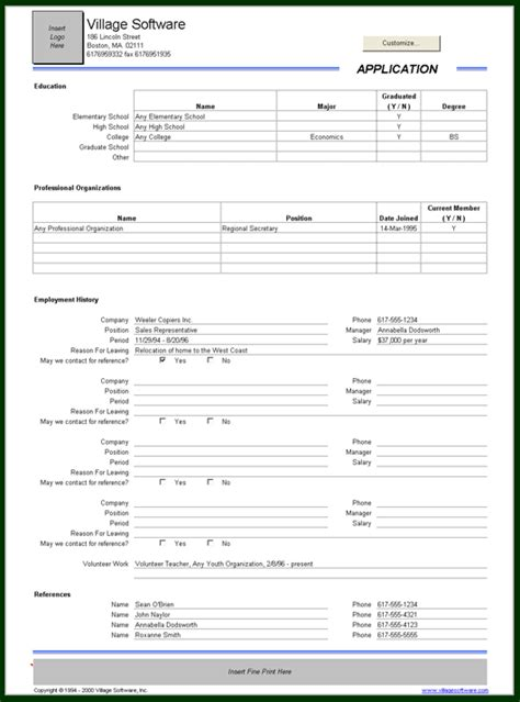 employee record form template application record template employment application