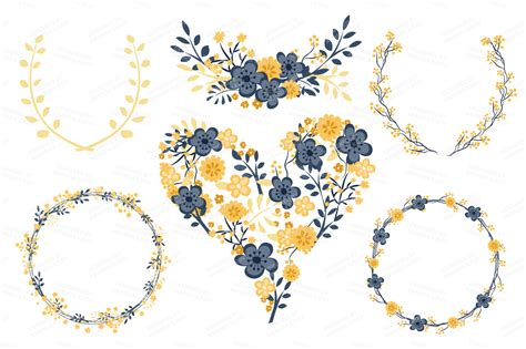 Navy Wedding Clipart by Clara Vintage Floral Wedding Clipart In Navy Lemon