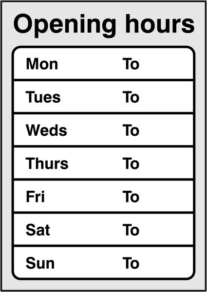 store hours template free opening hours sign seton uk