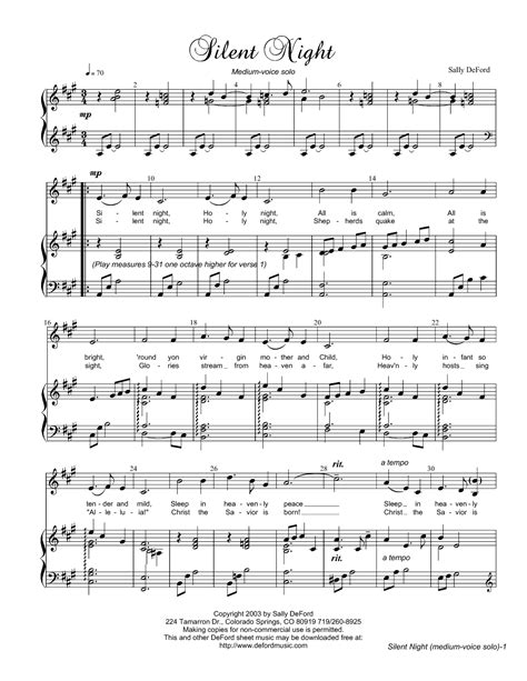 printable sheet music silent night silent night by sally deford vocal solo