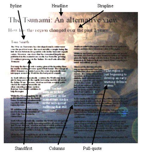 newspaper layout strapline swot revision