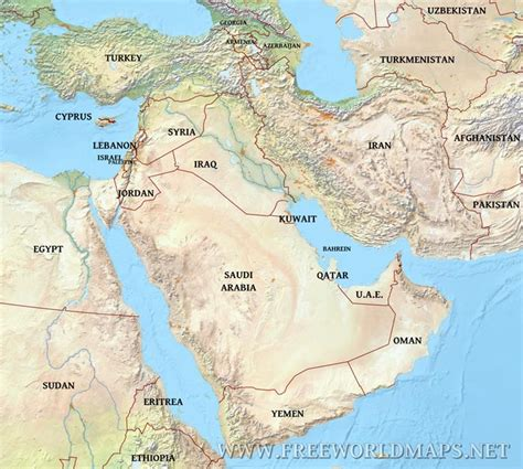 physical map of the middle east middle east physical map