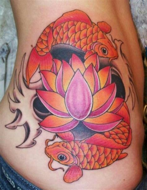 little johns tattoo greensboro nc koi fish ying yang with a lotus flower done in