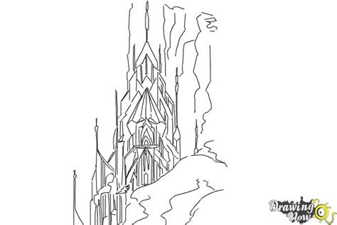 ice castle coloring page how to draw elsa s ice palace ice castle drawingnow